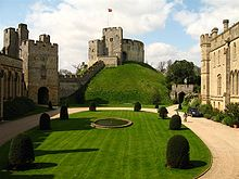 Arundel Castle's Norman motte with the quadrangle in the foreground.